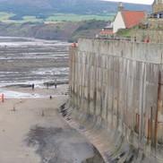 The sea wall at Robin Hood's Bay