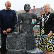 Walk with heritage sculpture
