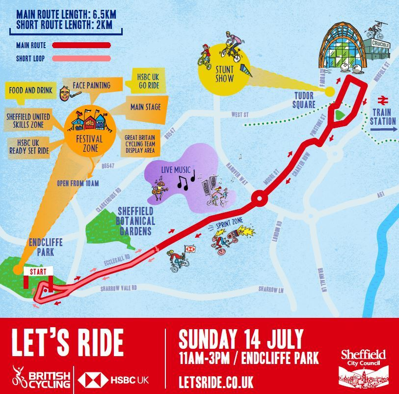 Let's Ride Sheffield route map cycling