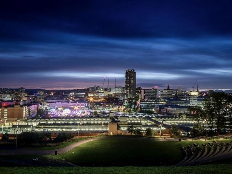 Sheffield skyline at night