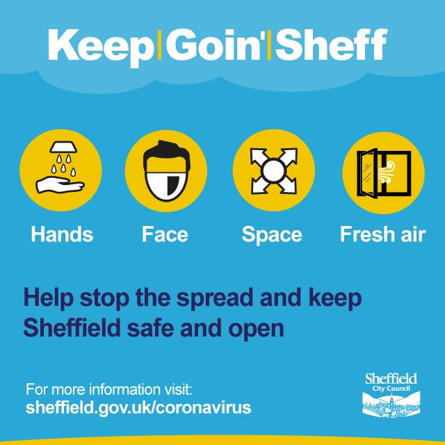 Graphic image showing hands, face space and encouraging people to maintain covid safety measures