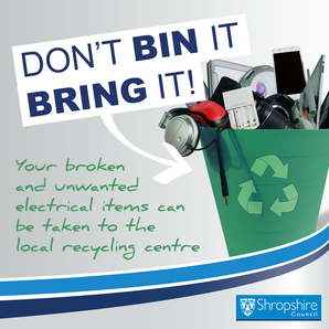Don't bin it bring your electrical items to your local Recycling Centre