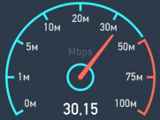 Broadband speed checker showing 30mbps