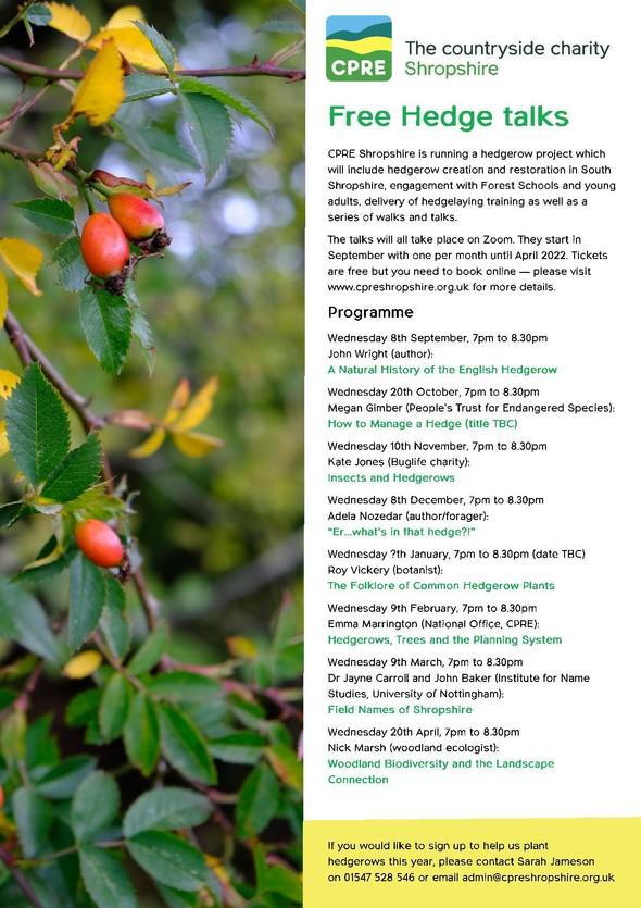 Hedgerow project autumn talks programme