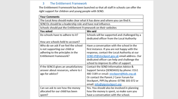 outcomes from engagement sessions