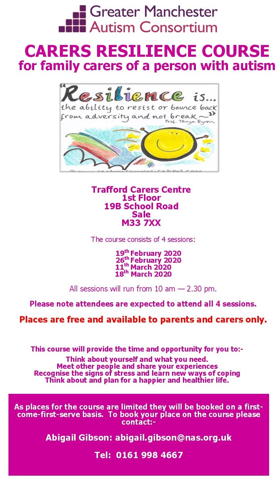 Carers resilience course flyer