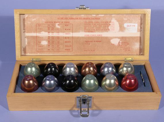 Trading Standards metric test poises for egg grading machines
