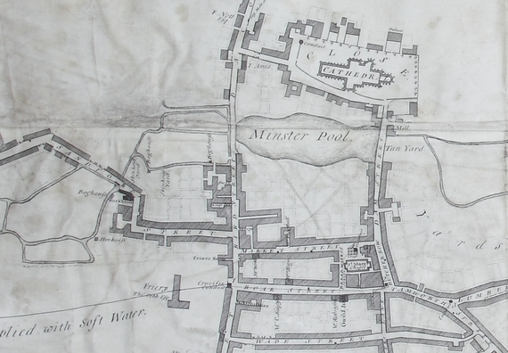LD126 Map showing Minster Pool, Lichfield