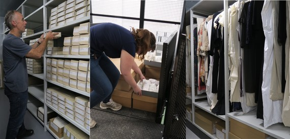 The Museum Team moving collection items into the new out store.