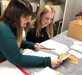 Volunteers working with the Archive and Heritage Team