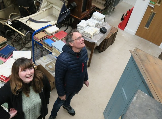 Mel and Howard planning to move some collection items in the museum store