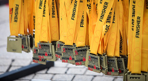 Image of IRONMAN 70.3 Staffordshire Finisher medals hanging up