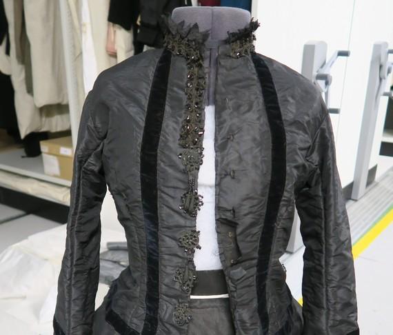 Silk mourning dress 1860s