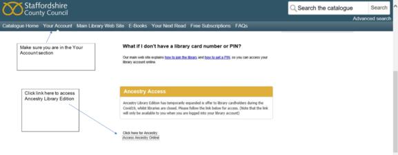 Ancestry Access Screen