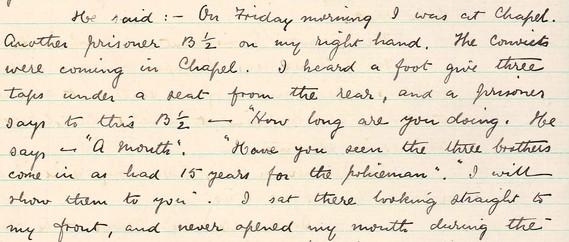 Statement from prisoner