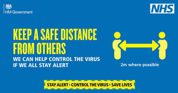 Graphic stating 'Keep A Safe Distance From Others'