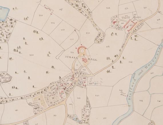 Tithe Map showing Tixall Hall