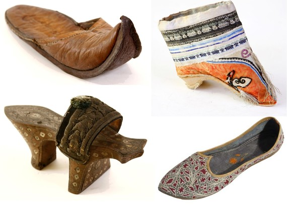 4 shoes from the museum collection: Turkish bath slipper, shoe for bound foot, leather slipper and embroidered shoe