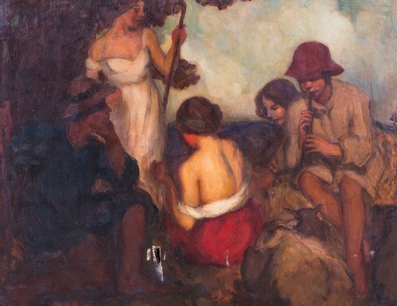 Oil painting 'Shepherds in Arcady' by Mabel Layng