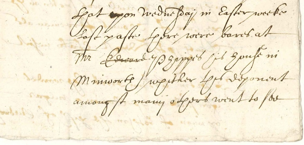 Document noting the presence of bears at the home of Mr Edward Phippes in Minworth, 1628