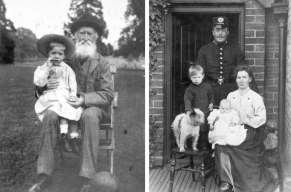 Spring Exhibition - left grandfather with grandchild, right family group outside their home