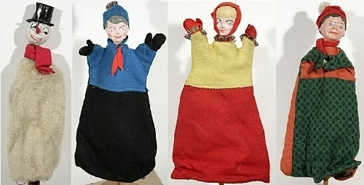 Series of winter themed glove puppets