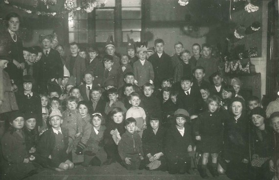 Group of children at a Christmas party in Eccleshall, 1937