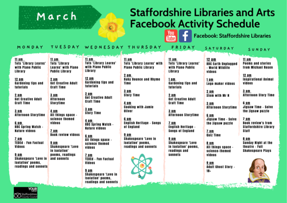 March Facebook Timetable