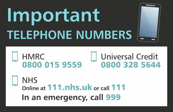Rectangular Important Phone Numbers