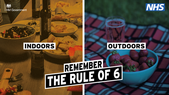Rule of six image indoors or outdoors