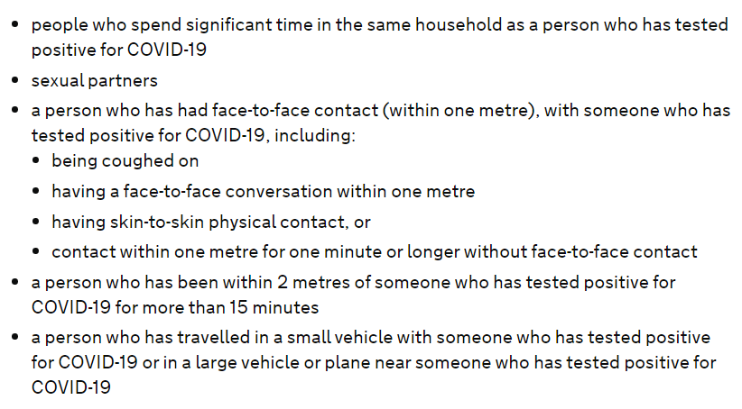 definitin of close contact in test and trace