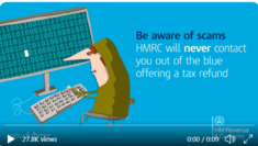 Cartoon like character looking at a screen - Be Aware of scams, HMRC will never contact you out of the blue offering a tax refund