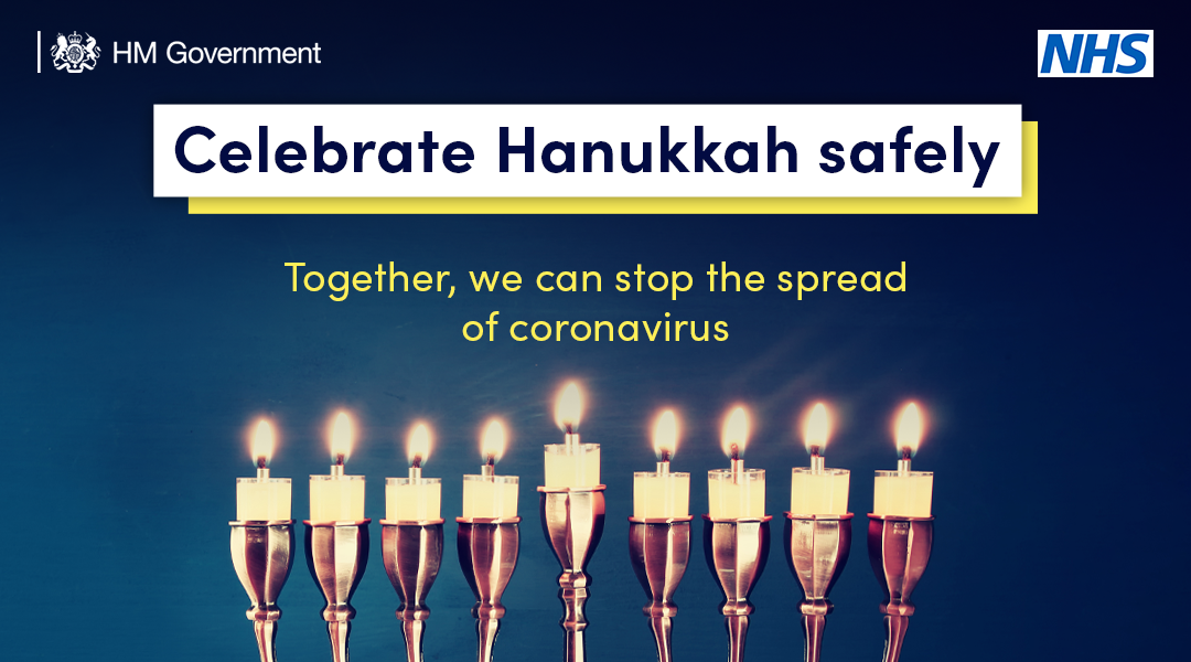 Celebrate Hanukku safely  Together we can stop the spread of coronavirus.  Row of lighted candles