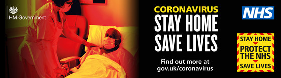Stay at home Save lives.  Image of a patient in a hospital bed being cared for by a nurse