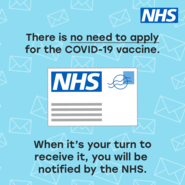 There is no need to apply for the Covid-19 vaccine.  When it's your turn to receive it, you will be notified by the NHS