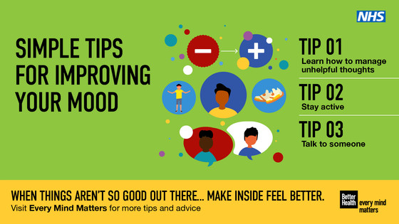 Tips for improving your mood. Learn how to manage your thoughts, stay active, talk to someone….make inside feel better.  Search every mind matters