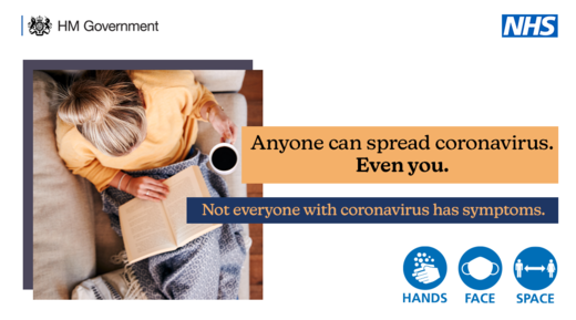 Anyone can spread the virus.  Even you. Not everyone with Coronavirus has symptoms.  Face Hands Space