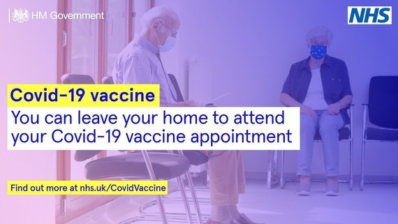 You can leave your home to attend your Covid-19 vaccine appointment