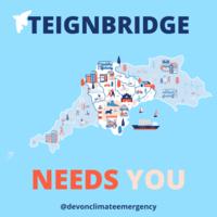 Teignbridge needs you - Devon Iterim Carbon Plan consultation.  SW map with Teignbridge highlighted.