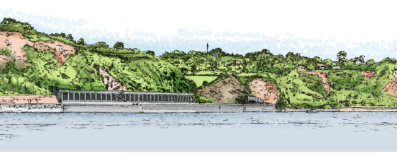 An artist's impression of the proposed rockfall shelter extension at Parsons Tunnel