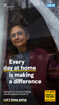 Every day at home is making a difference.  Image of a lady looking out of her window.