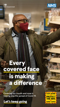Every covered face is making a difference.  Man with a face covering