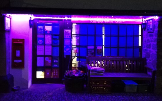image of a shop front in purple to mark census day