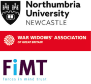 three logos for widow(er)s' research - Northumbria University, War Widows Association, Forces in Mind Trust