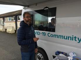 Phil Shears at mobile testing unit