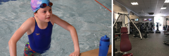 Two pictures - one of a girl getting out of a swimming pool and the other showing a gym with equipment ready for use