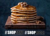Shop safe Shop Local pile of pancakes