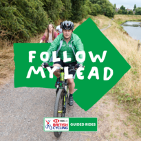Follow my lead - cycle leader with other cyclists