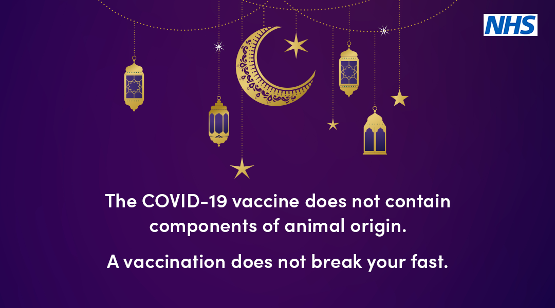 The Covid-19 vaccine does not contain components of animal origin.  A vaccination does not break your fast.