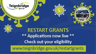 Restart grants.  Applications now live.  Check out your eligibility.  https://www.teignbridge.gov.uk/restartgrants